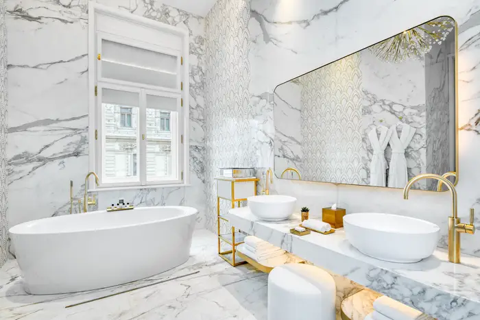 The Royal Suite bathroom. Matild Palace/The Luxury Collection