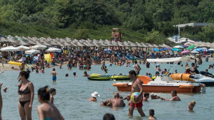 Busier times in Paliouri beach, Greece: This image was taken in 2017 which was considered to be one of the best performing summers, in terms of visitors arrivals. NurPhoto | NurPhoto | Getty Images