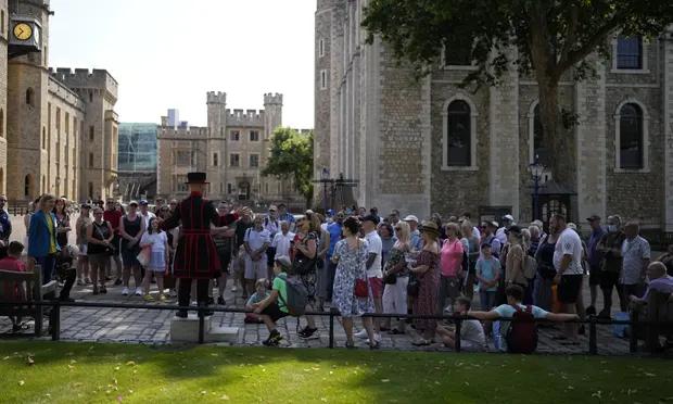 A tour group at the Tower of London this week. Photograph: Matt Dunham/AP
