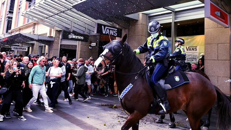 Protesters and mounted police clash at Sydney Town Hall on Saturday. Mick Tsikas/AP