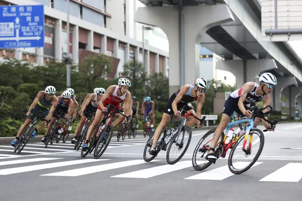 Alex Yee leads the way during the cycling phase of the race. Photograph: Cameron Spencer/AP