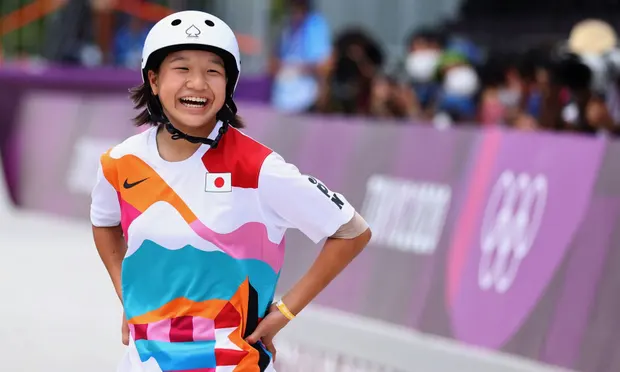 Momiji Nishiya of Japan reacts during Monday's competition at Ariake Urban Sports Park. Photograph: Lucy Nicholson/Reuters