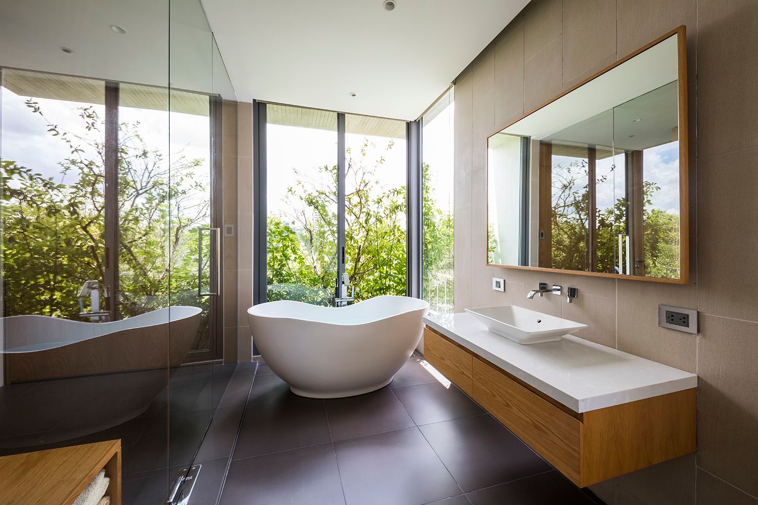 The bathroom's space and luxurious furnishings would match that of a high-end resort. Photo courtesy of