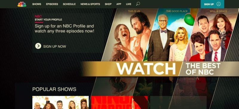 NBC Homepage. Photo: Screenshot