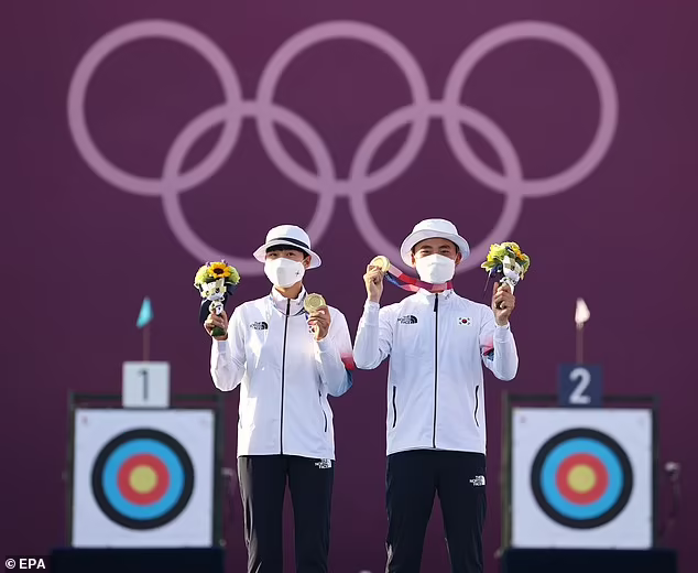 Archers An San (left) and her teammate Kim Je-deok (right) won South Korea's first gold medals. Photo: EPA