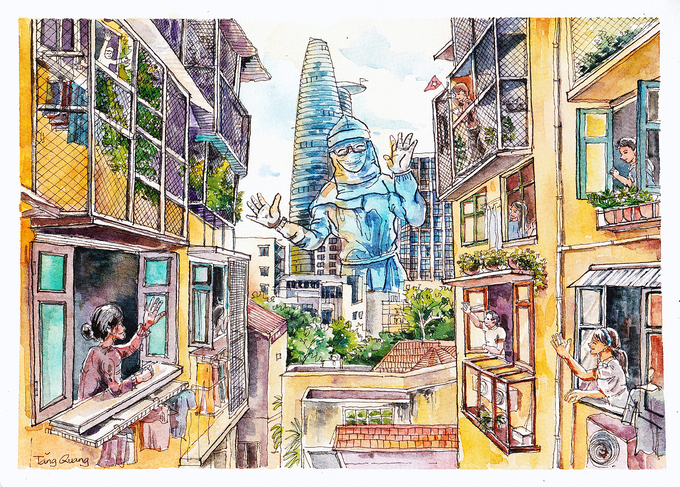 """Heartwarming Drawings of """"Saigon in Lockdown Days"""" Raises Funds For Poor Workers"""