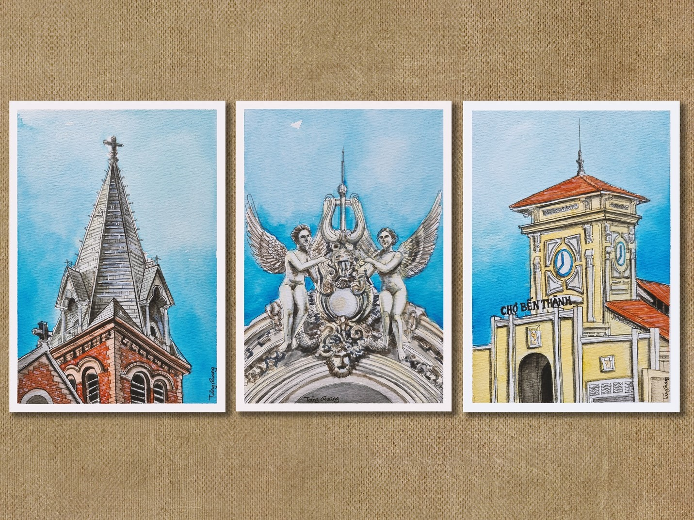 Drawings of famous architecture in Saigon. Photo: Tang Quang