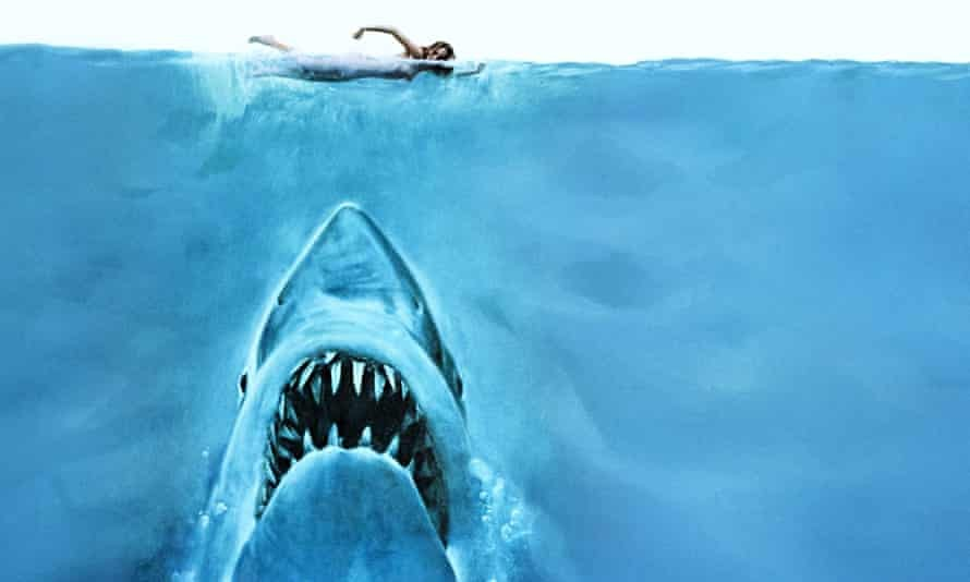 The classic poster image from the first release of the film Jaws. Photograph: Allstar/UNIVERSAL/Sportsphoto Ltd./Allstar