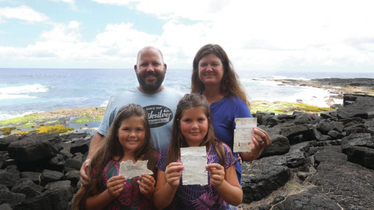 Abbie Graham (Right) and her family found the botter in Paradise Beach, Hawaii. Photo: Hawaii Today