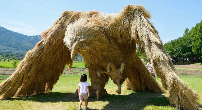 Beautiful Creatures Made From Straw Displayed in Japan's Wara Art Festival