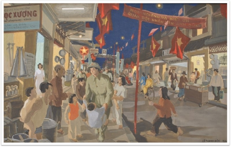 """The painting is titled """"Hanoi at Night of Liberation"""" by Le Thanh Duc. Photo: Vietnam Museum of Fine Arts"""