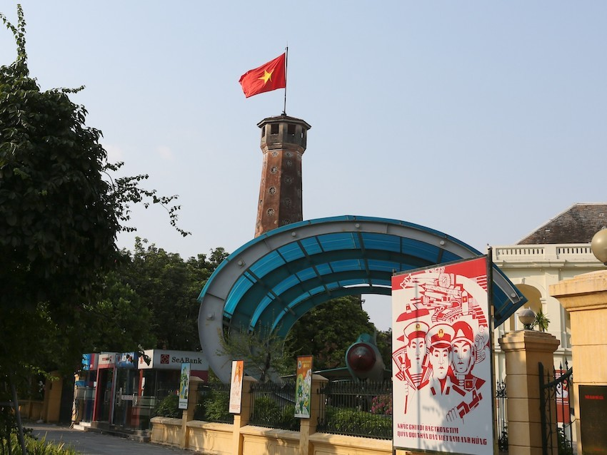 A large billboard was erected outside Hanoi's Flag Town relic on Dien Bien Phu Street, Ba Dinh District.