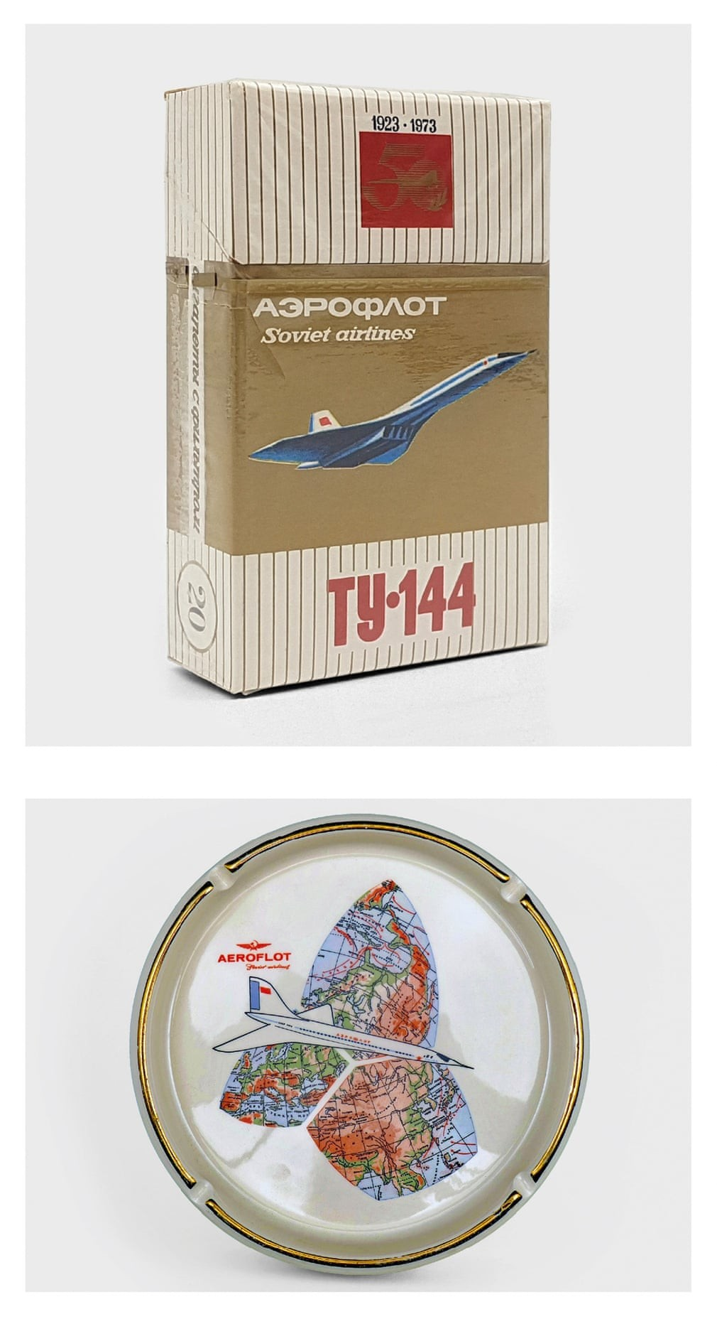 The airline produced a variety of souvenir items, including a cigarette pack produced in 1973 to commemorate Aeroflot's 50th anniversary and an ashtray from the 70s. Photo: The Guardian