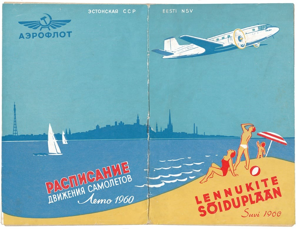 Estonia was a popular holiday destination for Russians. The cover of a timetable from summer 1960 features an Ilyushin Il-14 flying over the Tallinn skyline and beach