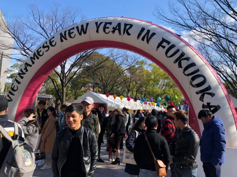 about 7000 people drawn to tet festival 2020 in japans fukuoka prefecture