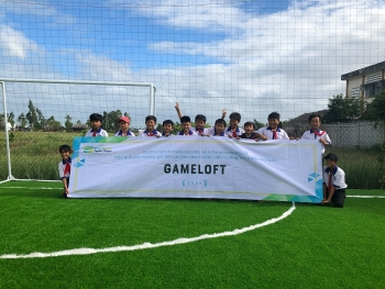 new football field opened for children in tien giangs district