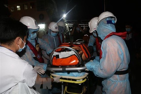 sick philippine sailor brought ashore for treatment