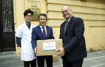 university makes distributes hand sanitizers to italian french embassies