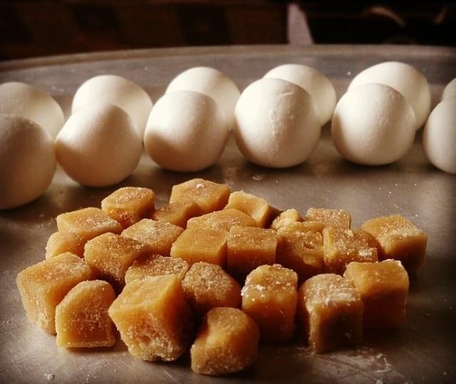 Emerging in making Cold Food Festival sweet dessert
