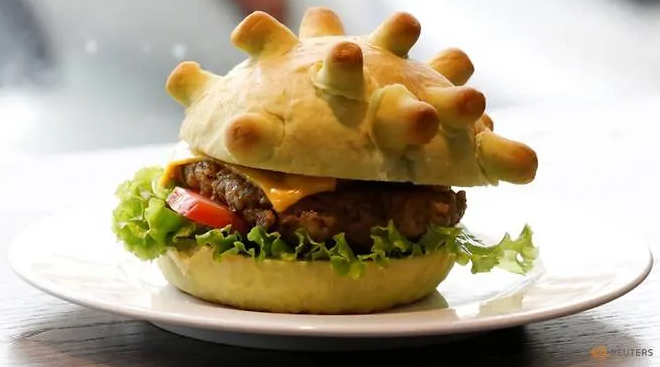 coronaburger created by hanois restaurant to calm the nerve