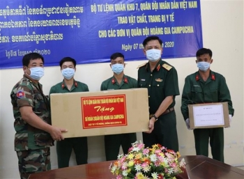 military region 7 presents covid 19 medical equipment to cambodian army