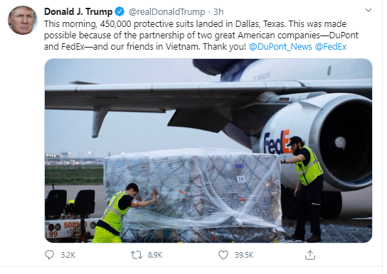 us president donald trump tweets thanks for vietnams protective suits