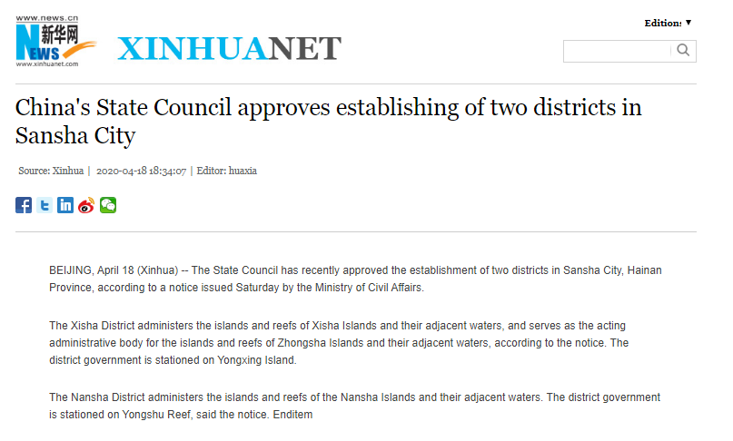 China's announcement to establish administrative districts in East Sea null and void