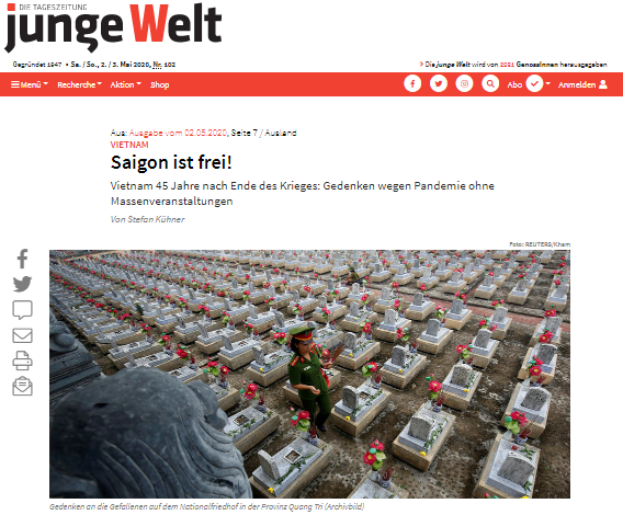 German Junge Welt daily hails Vietnam's spirit of peace and national independence