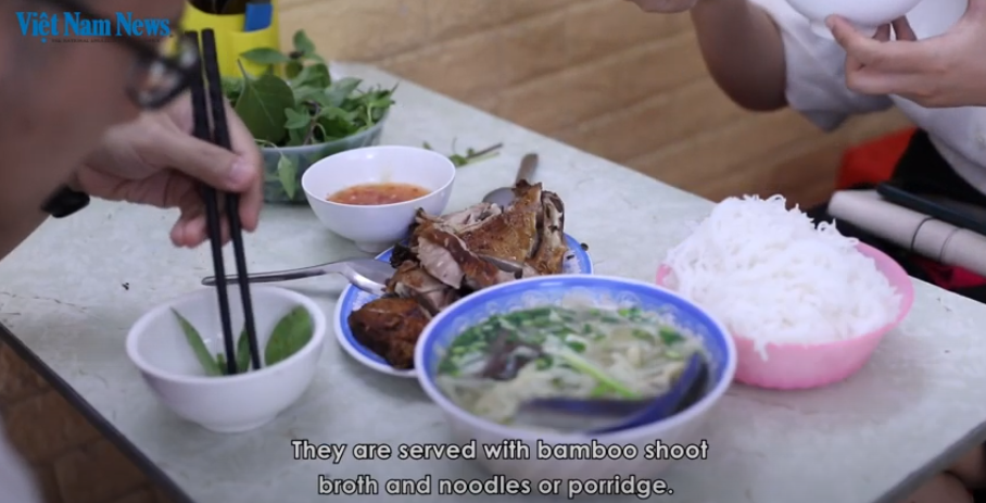 Vietnamese style grilled-duck vermicelli