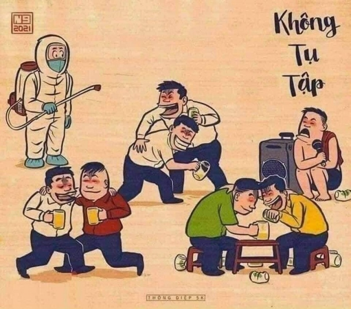 """a totally new picture is drawn for """"No gathering"""" message asking people to avoid mass gatherings at bia hoi (beer restaurants), bars and Karaoke spots."""