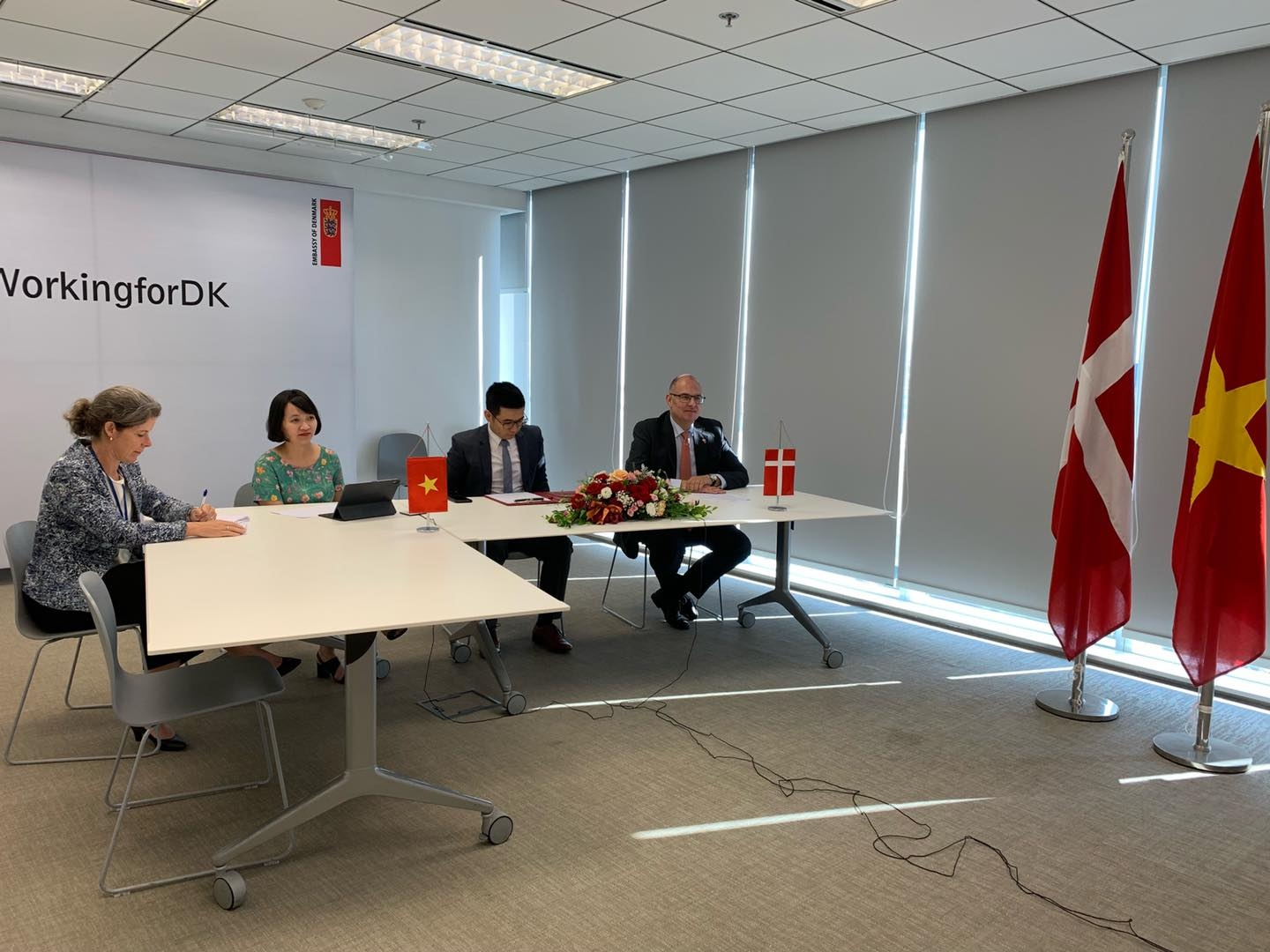 The Danish Ambassador to Vietnam, Kim Højlund Christensen, hosted a virtual contract signing ceremony for the La Gan offshore wind project. Source: Embassy of Denmark in Vietnam