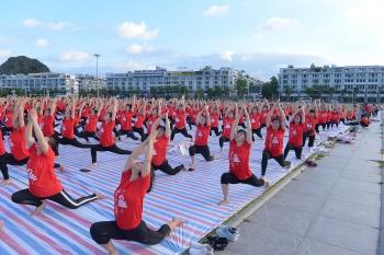 ha long bay over 3000 people join yoga performance