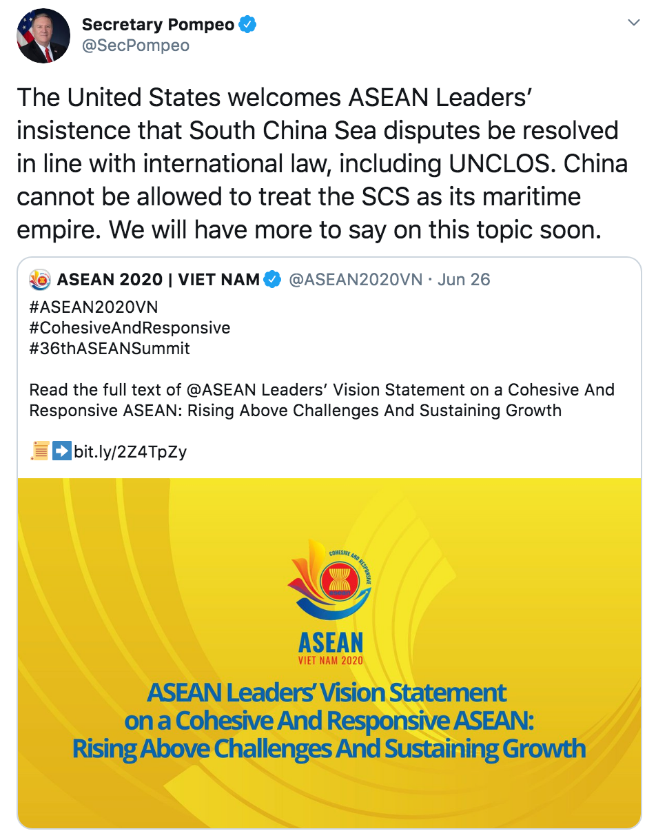 pompeo china cannot be allowed to treat the south china sea as its maritime empire