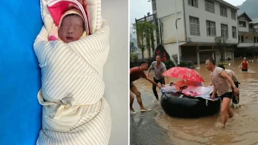 china terrible flood came miracle baby boy is born on top of floating tyre