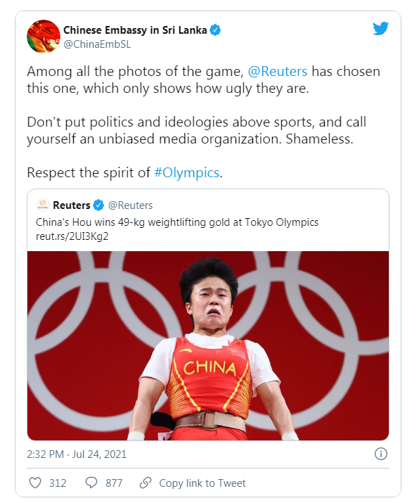 Chinese Diplomats Slams Reuters for 'Ugly' Photo of Weightlifting Gold Medalist Hou Zhihui