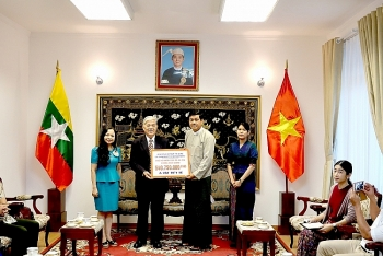 friendship association hands over covid 19 aid to myanmar embassy
