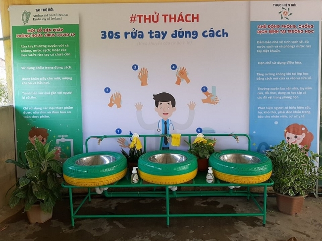 Ireland funds hand-washing basins to help prevent coronavirus spread in Quang Tri