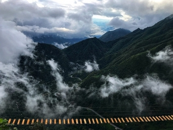 vietnam top destinations exotic suspension bridge on the top of o quy ho pass