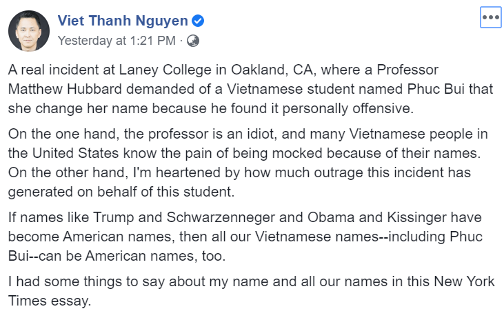 American professor placed on leave after demanding Vietnamese student Anglicise her name