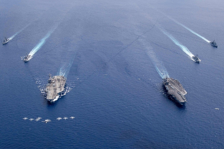 foreign policy latest drill of us navys carriers hints a message to china