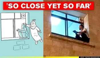 palestinian guy climbing to hospital window bidding farewell to mom who died of covid 19