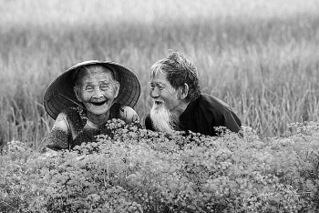 heart warming moments of elderly vietnamese couple