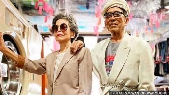 fabulously trendy photos of a stylish senior taiwanese couple at their launderette