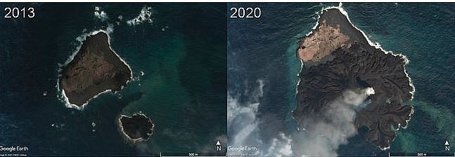 a japanese island keeps growing ten times in size