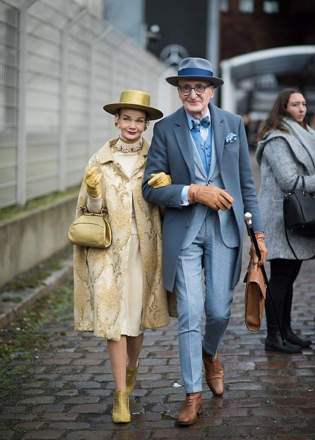 very fashionable looks of hipster grandpa in berlin