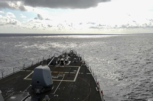 south china sea us ship sails by spratly islands