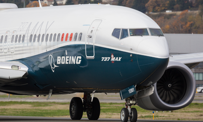 A Boeing 737 Max departs from King County International Airport in Seattle, Washington, U.S. Photo by Shutterstock/BlueBarronPhoto.