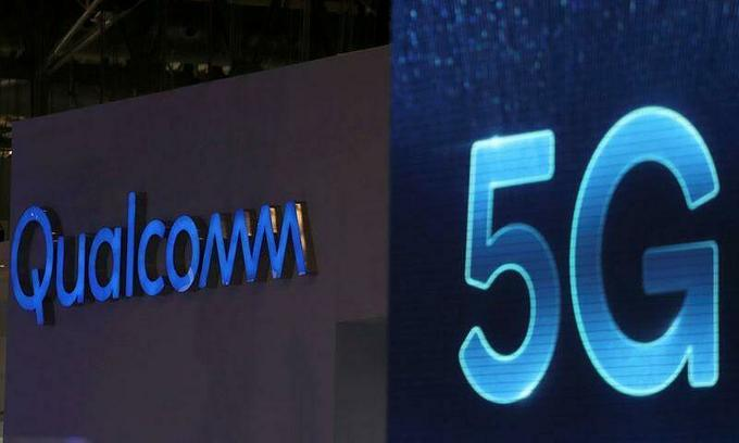 Qualcomm and 5G logos are seen at the Mobile World Congress in Barcelona, Spain, Feb. 26, 2019. Photo by Reuters/Sergio Perez.