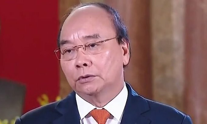 President Nguyen Xuan Phuc is seen in a video sent to the Boao Forum for Asia on April 20, 2021. Photo by Vietnam Television.