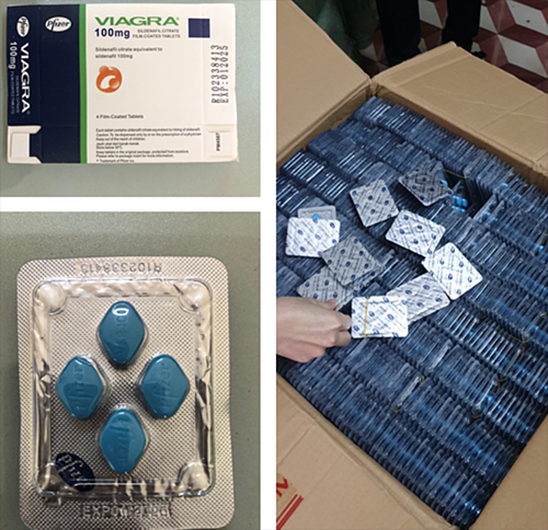 The counterfeit Viagra as seized by police in Gia Lai Province, February 2021. Photo by police.